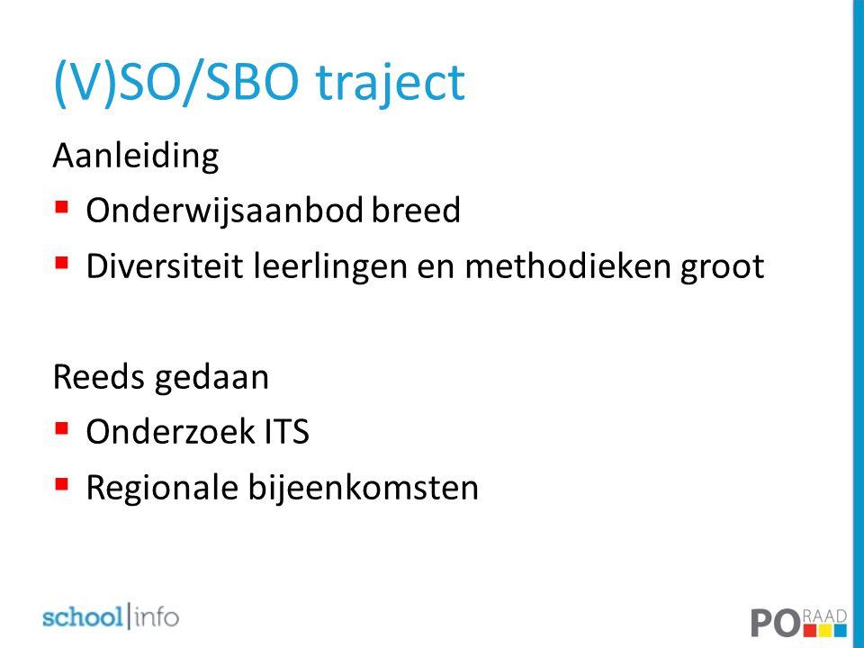 (V)SO/SBO traject Aanleiding  Onderwijsaanbod breed  Diversiteit leerlingen en methodieken groot Reeds gedaan  Onderzoek ITS  Regionale bijeenkomsten