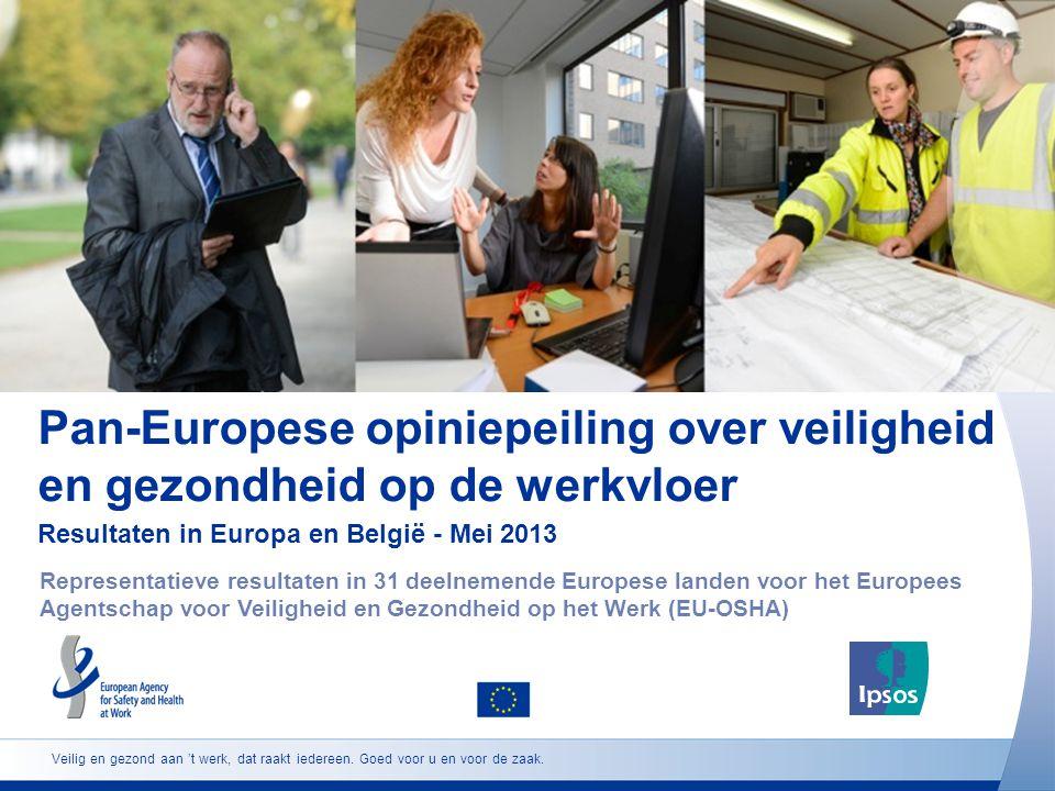 Pan-Europese opiniepeiling over veiligheid en gezondheid op de werkvloer Resultaten in Europa en België - Mei 2013 Representatieve resultaten in 31 deelnemende Europese landen voor het Europees Agentschap voor Veiligheid en Gezondheid op het Werk (EU-OSHA) Veilig en gezond aan 't werk, dat raakt iedereen.