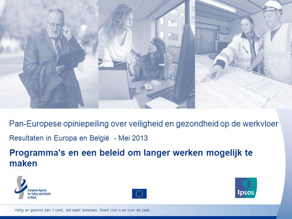 Pan-Europese opiniepeiling over veiligheid en gezondheid op de werkvloer Resultaten in Europa en België - Mei 2013 Programma s en een beleid om langer werken mogelijk te maken Veilig en gezond aan 't werk, dat raakt iedereen.