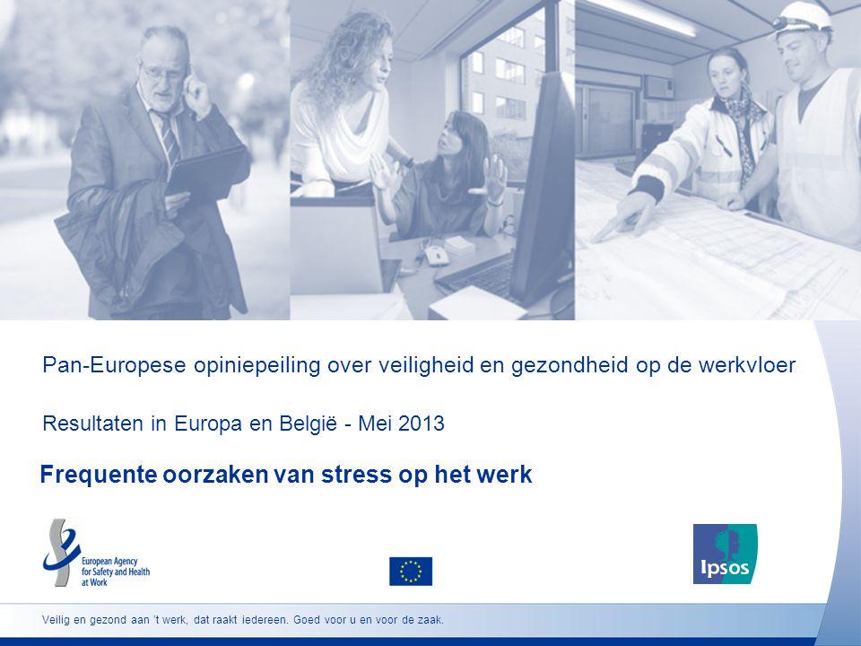 Pan-Europese opiniepeiling over veiligheid en gezondheid op de werkvloer Resultaten in Europa en België - Mei 2013 Frequente oorzaken van stress op het werk Veilig en gezond aan 't werk, dat raakt iedereen.