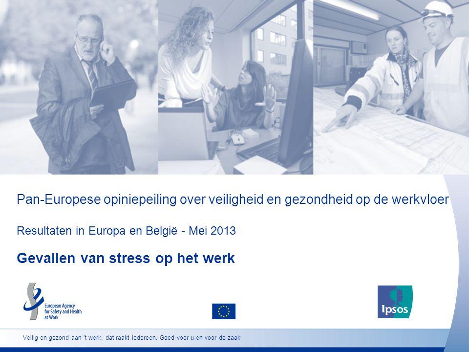 Pan-Europese opiniepeiling over veiligheid en gezondheid op de werkvloer Resultaten in Europa en België - Mei 2013 Gevallen van stress op het werk Veilig en gezond aan 't werk, dat raakt iedereen.
