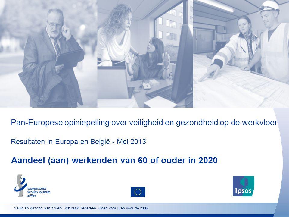 Pan-Europese opiniepeiling over veiligheid en gezondheid op de werkvloer Resultaten in Europa en België - Mei 2013 Aandeel (aan) werkenden van 60 of ouder in 2020 Veilig en gezond aan 't werk, dat raakt iedereen.