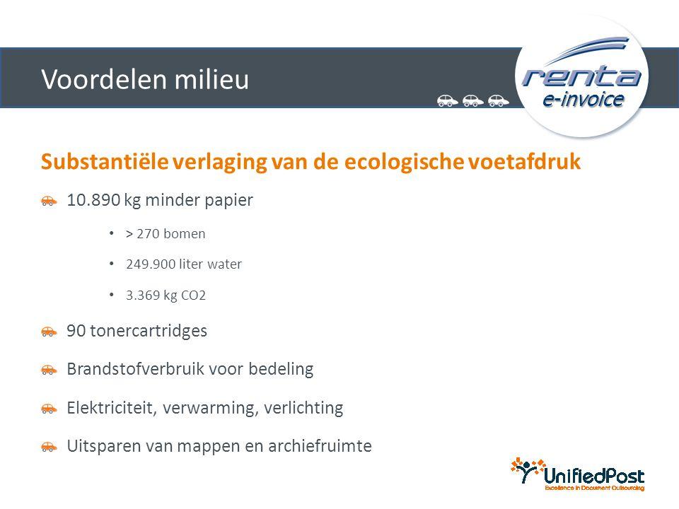 e-invoice Voordelen milieu Substantiële verlaging van de ecologische voetafdruk 10.890 kg minder papier • > 270 bomen • 249.900 liter water • 3.369 kg