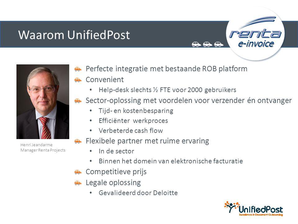 e-invoice Waarom UnifiedPost Perfecte integratie met bestaande ROB platform Convenient • Help-desk slechts ½ FTE voor 2000 gebruikers Sector-oplossing
