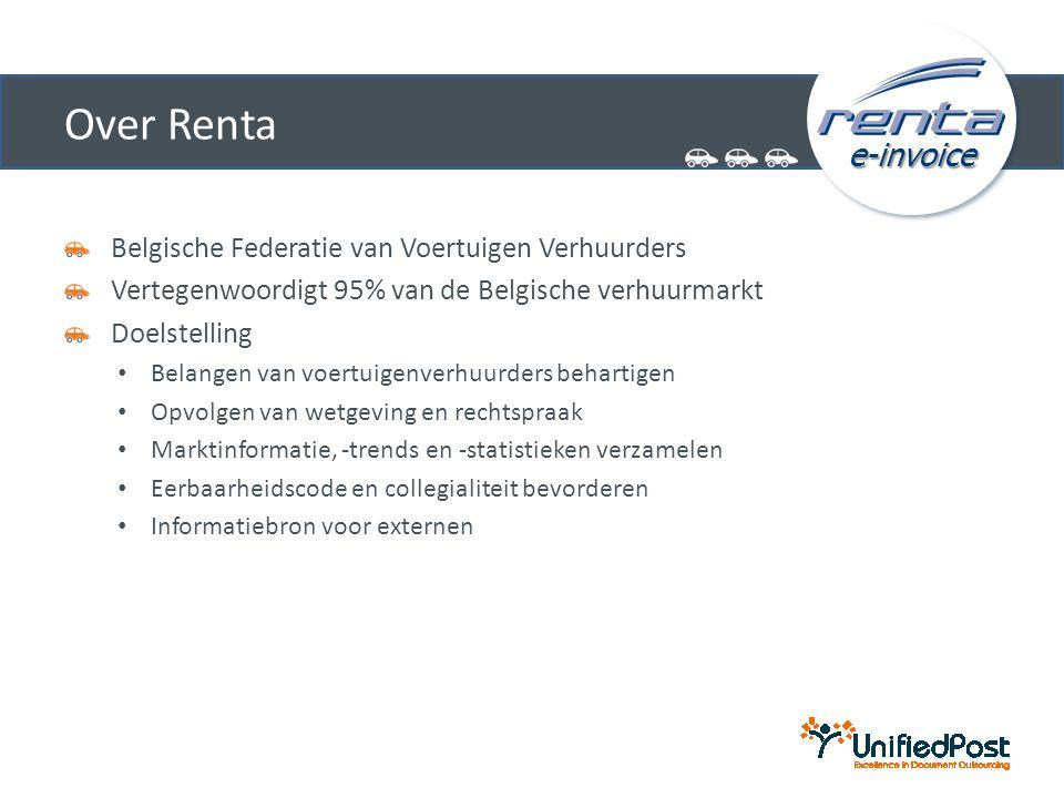 e-invoice Over Renta Belgische Federatie van Voertuigen Verhuurders Vertegenwoordigt 95% van de Belgische verhuurmarkt Doelstelling • Belangen van voertuigenverhuurders behartigen • Opvolgen van wetgeving en rechtspraak • Marktinformatie, -trends en -statistieken verzamelen • Eerbaarheidscode en collegialiteit bevorderen • Informatiebron voor externen