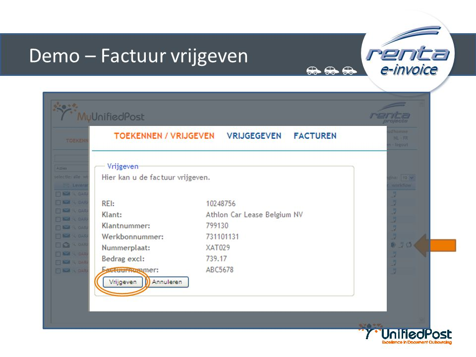 e-invoice Demo – Factuur vrijgeven