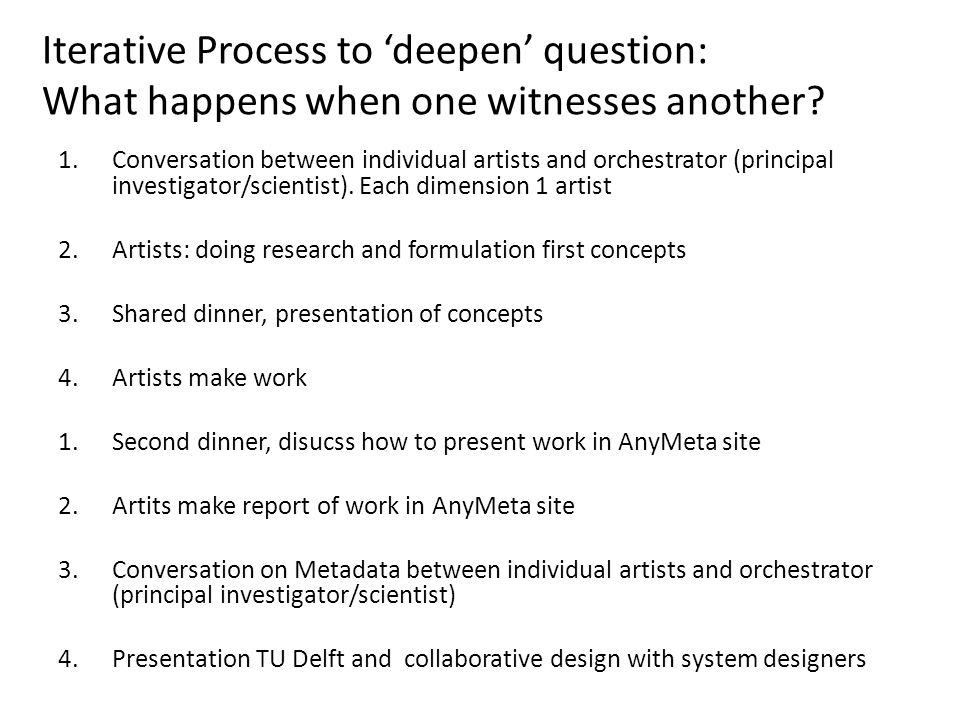 Iterative Process to 'deepen' question: What happens when one witnesses another.