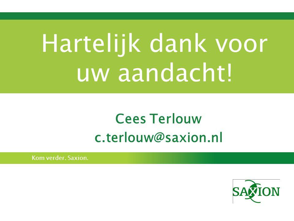 Kom verder. Saxion. Hartelijk dank voor uw aandacht! Cees Terlouw c.terlouw@saxion.nl