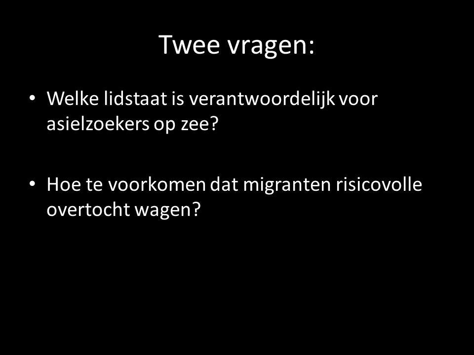 Twee vragen: • Welke lidstaat is verantwoordelijk voor asielzoekers op zee? • Hoe te voorkomen dat migranten risicovolle overtocht wagen?