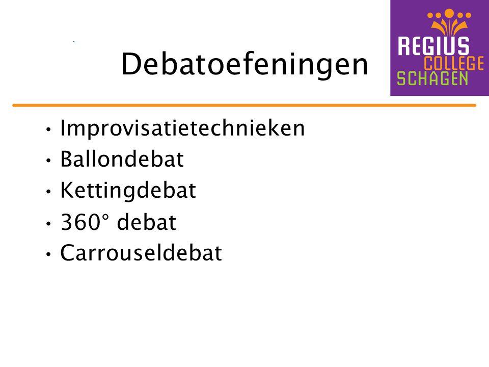 Debatoefeningen •Improvisatietechnieken •Ballondebat •Kettingdebat •360° debat •Carrouseldebat