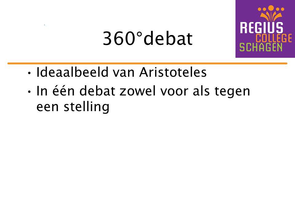 360°debat •Ideaalbeeld van Aristoteles •In één debat zowel voor als tegen een stelling