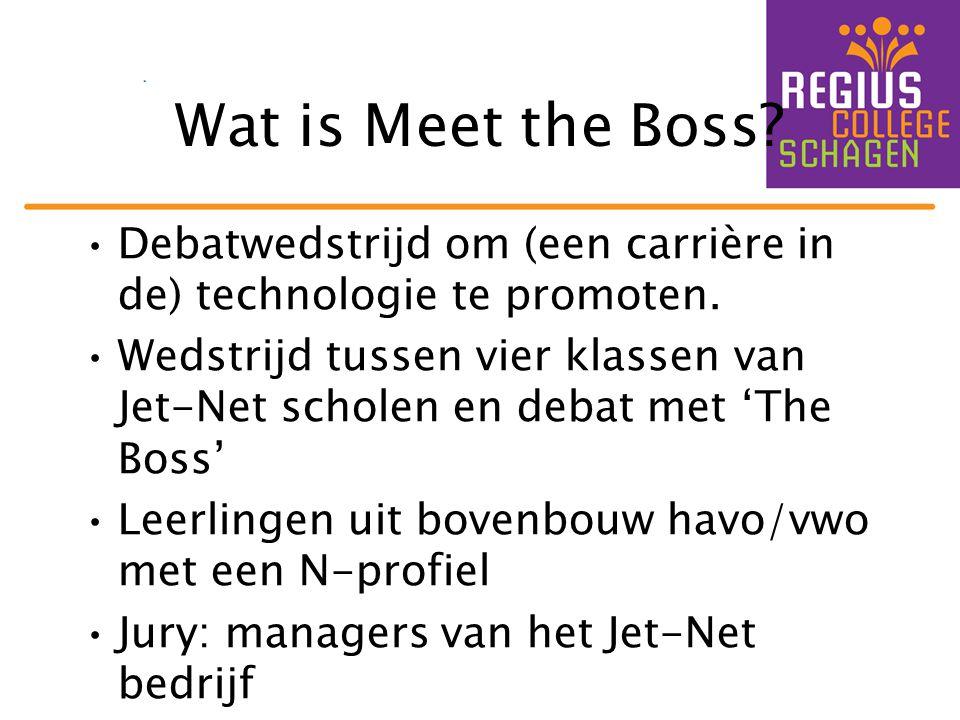 Wat is Meet the Boss? •Debatwedstrijd om (een carrière in de) technologie te promoten. •Wedstrijd tussen vier klassen van Jet-Net scholen en debat met