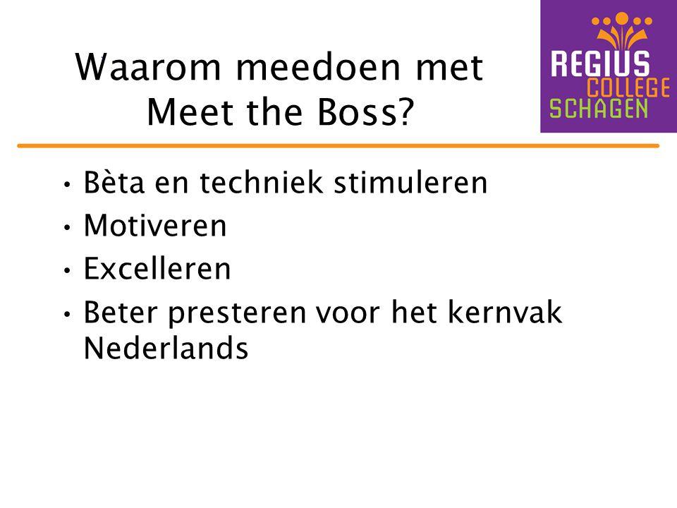 Waarom meedoen met Meet the Boss? •Bèta en techniek stimuleren •Motiveren •Excelleren •Beter presteren voor het kernvak Nederlands