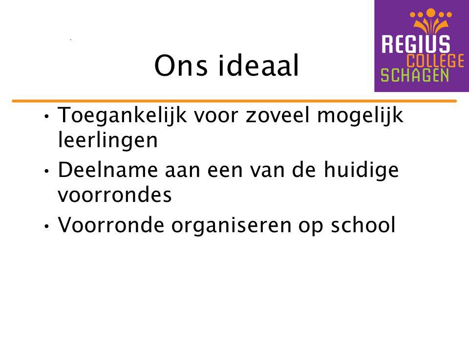 Ons ideaal •Toegankelijk voor zoveel mogelijk leerlingen •Deelname aan een van de huidige voorrondes •Voorronde organiseren op school