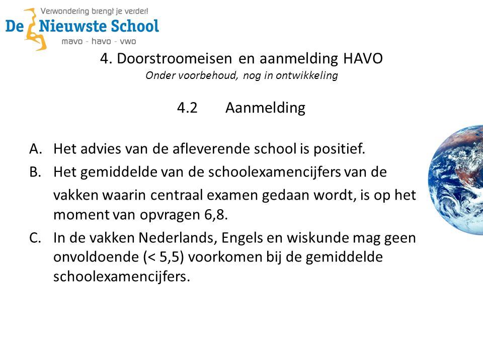 4. Doorstroomeisen en aanmelding HAVO Onder voorbehoud, nog in ontwikkeling 4.2Aanmelding A.Het advies van de afleverende school is positief. B.Het ge