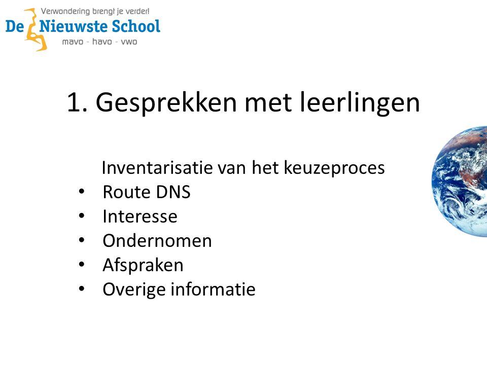 1. Gesprekken met leerlingen Inventarisatie van het keuzeproces • Route DNS • Interesse • Ondernomen • Afspraken • Overige informatie