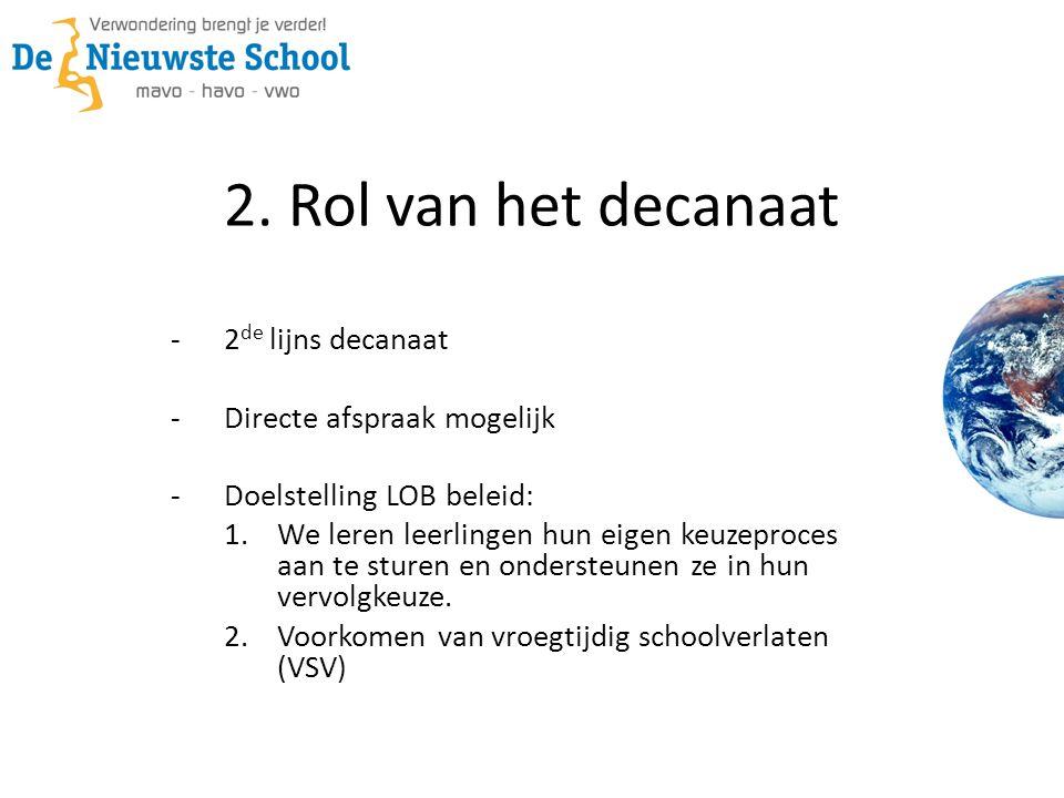 2. Rol van het decanaat -2 de lijns decanaat -Directe afspraak mogelijk -Doelstelling LOB beleid: 1. We leren leerlingen hun eigen keuzeproces aan te