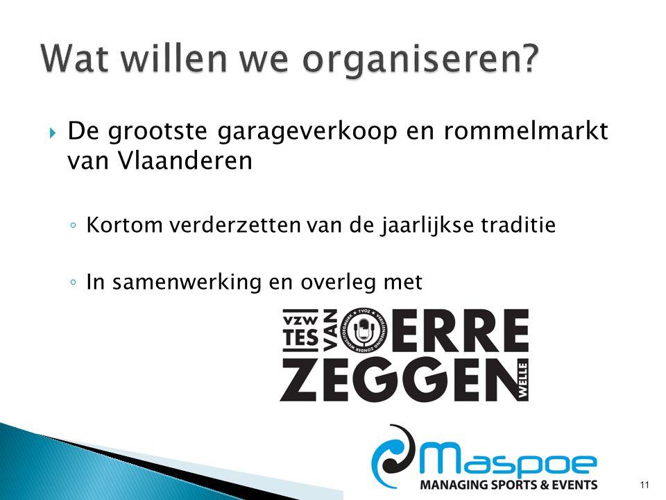  De grootste garageverkoop en rommelmarkt van Vlaanderen ◦ Kortom verderzetten van de jaarlijkse traditie ◦ In samenwerking en overleg met 11