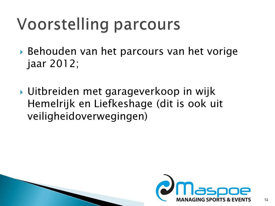 14  Behouden van het parcours van het vorige jaar 2012;  Uitbreiden met garageverkoop in wijk Hemelrijk en Liefkeshage (dit is ook uit veiligheidoverwegingen)