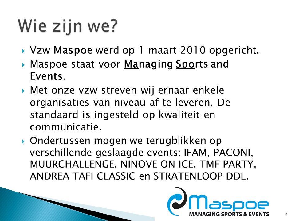 4  Vzw Maspoe werd op 1 maart 2010 opgericht.  Maspoe staat voor Managing Sports and Events.