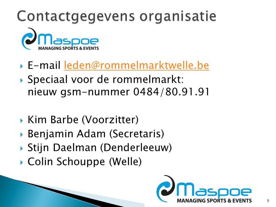 9  E-mail leden@rommelmarktwelle.beleden@rommelmarktwelle.be  Speciaal voor de rommelmarkt: nieuw gsm-nummer 0484/80.91.91  Kim Barbe (Voorzitter)  Benjamin Adam (Secretaris)  Stijn Daelman (Denderleeuw)  Colin Schouppe (Welle)