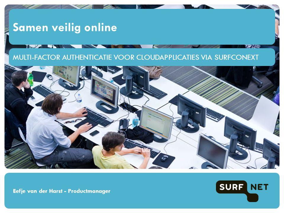 MULTI-FACTOR AUTHENTICATIE VOOR CLOUDAPPLICATIES VIA SURFCONEXT Samen veilig online Eefje van der Harst - Productmanager