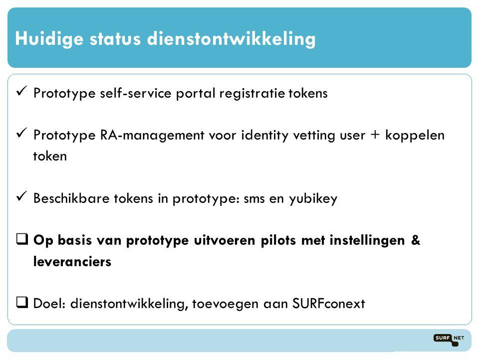 Huidige status dienstontwikkeling  Prototype self-service portal registratie tokens  Prototype RA-management voor identity vetting user + koppelen token  Beschikbare tokens in prototype: sms en yubikey  Op basis van prototype uitvoeren pilots met instellingen & leveranciers  Doel: dienstontwikkeling, toevoegen aan SURFconext