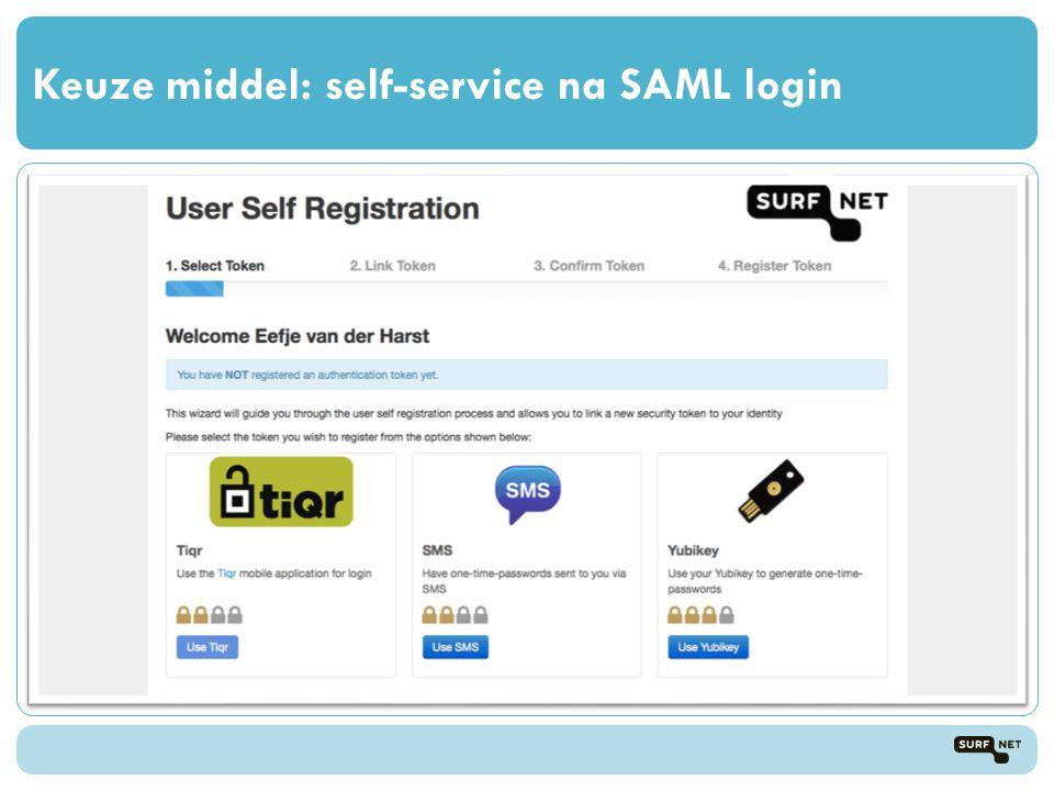Keuze middel: self-service na SAML login