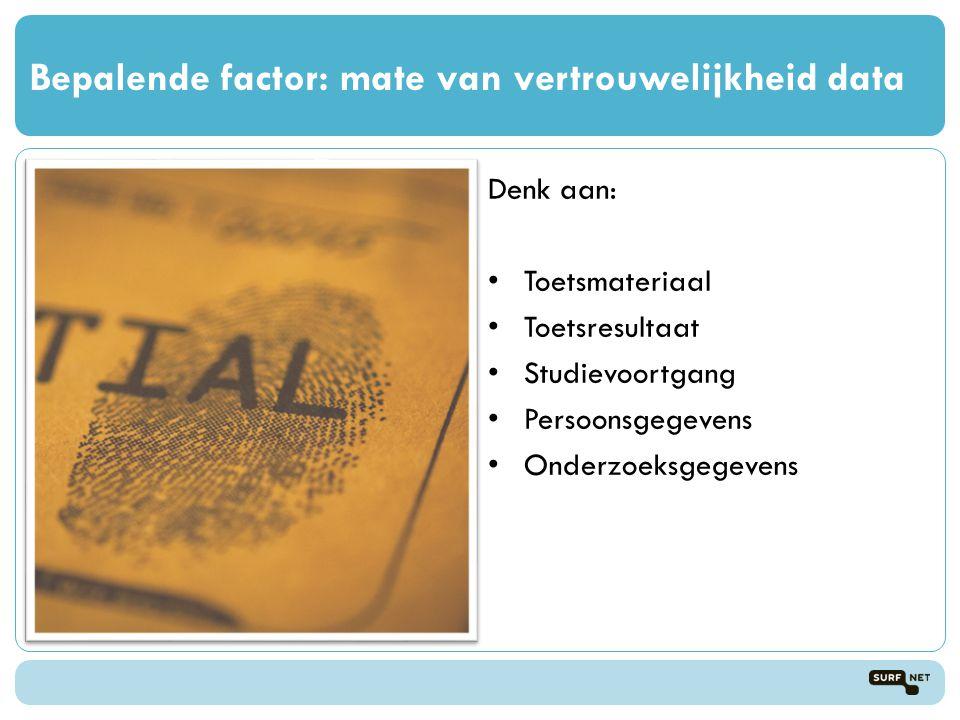 Bepalende factor: mate van vertrouwelijkheid data Denk aan: • Toetsmateriaal • Toetsresultaat • Studievoortgang • Persoonsgegevens • Onderzoeksgegevens