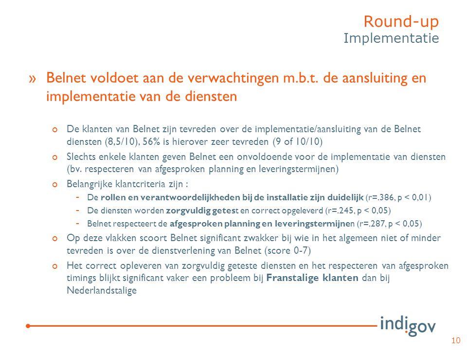 »Belnet voldoet aan de verwachtingen m.b.t. de aansluiting en implementatie van de diensten oDe klanten van Belnet zijn tevreden over de implementatie