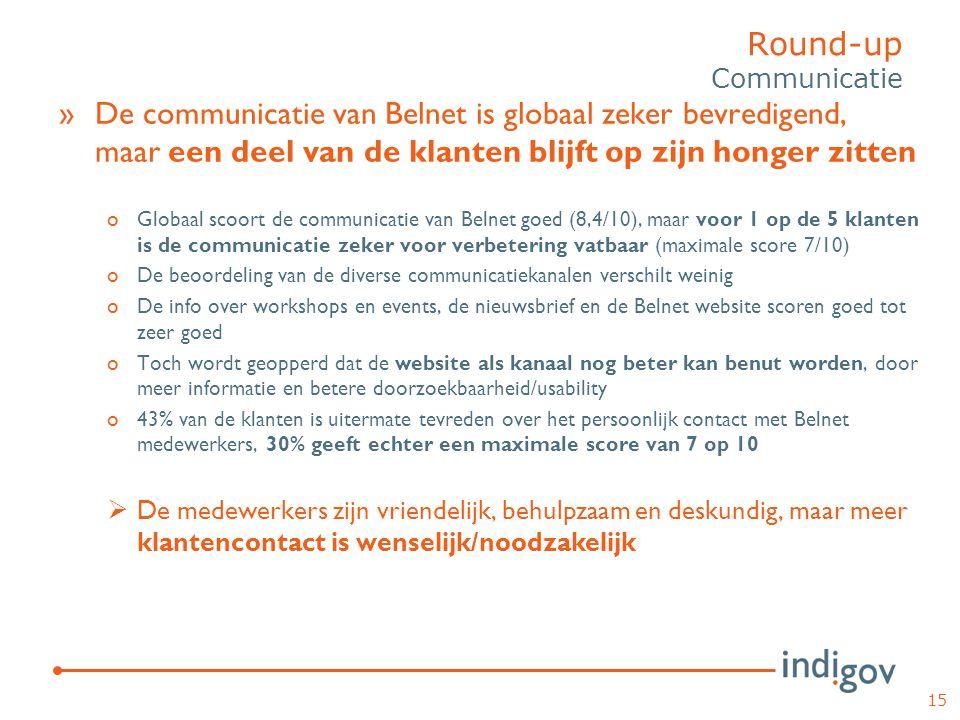 »De communicatie van Belnet is globaal zeker bevredigend, maar een deel van de klanten blijft op zijn honger zitten oGlobaal scoort de communicatie va