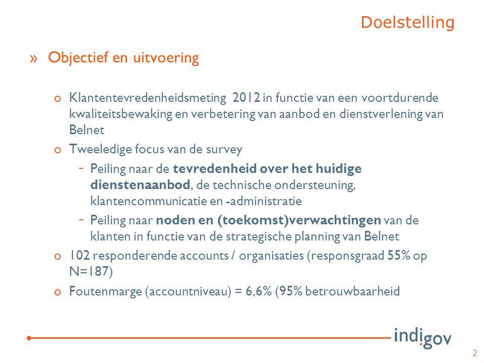 Doelstelling »Objectief en uitvoering oKlantentevredenheidsmeting 2012 in functie van een voortdurende kwaliteitsbewaking en verbetering van aanbod en