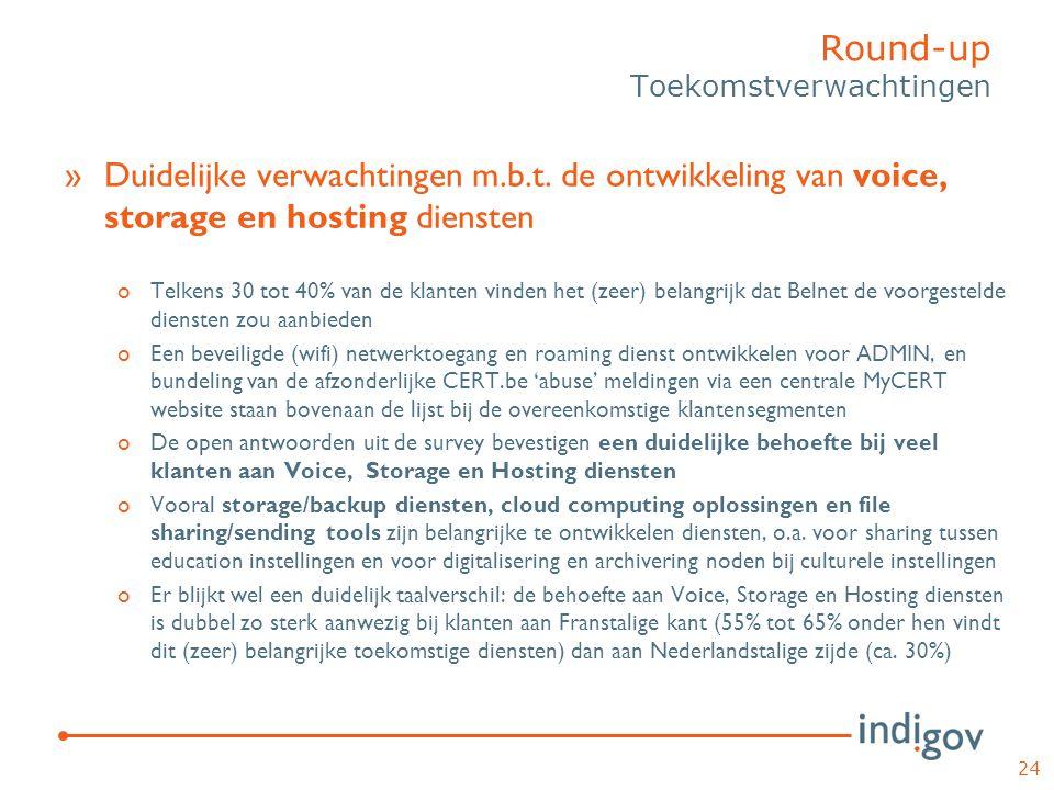 »Duidelijke verwachtingen m.b.t. de ontwikkeling van voice, storage en hosting diensten oTelkens 30 tot 40% van de klanten vinden het (zeer) belangrij