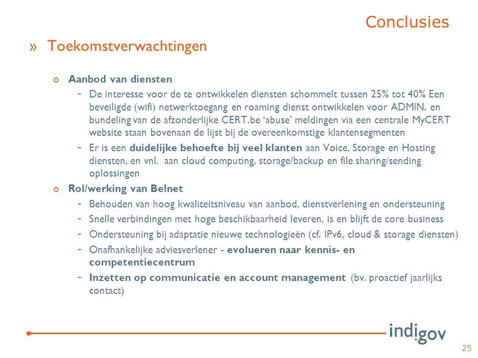 »Toekomstverwachtingen oAanbod van diensten - De interesse voor de te ontwikkelen diensten schommelt tussen 25% tot 40% Een beveiligde (wifi) netwerkt