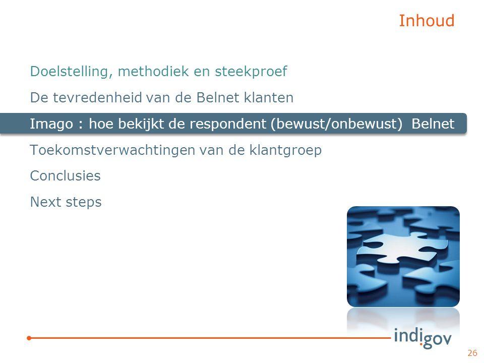 Inhoud Doelstelling, methodiek en steekproef De tevredenheid van de Belnet klanten Imago : hoe bekijkt de respondent (bewust/onbewust) Belnet Toekomst