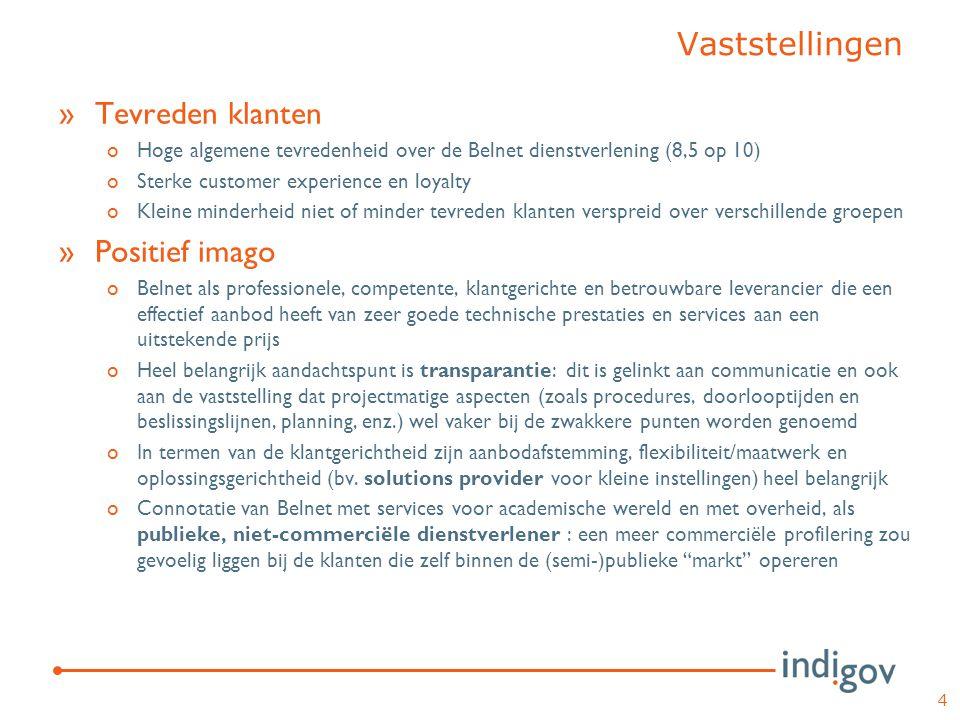 »Tevreden klanten oHoge algemene tevredenheid over de Belnet dienstverlening (8,5 op 10) oSterke customer experience en loyalty oKleine minderheid nie