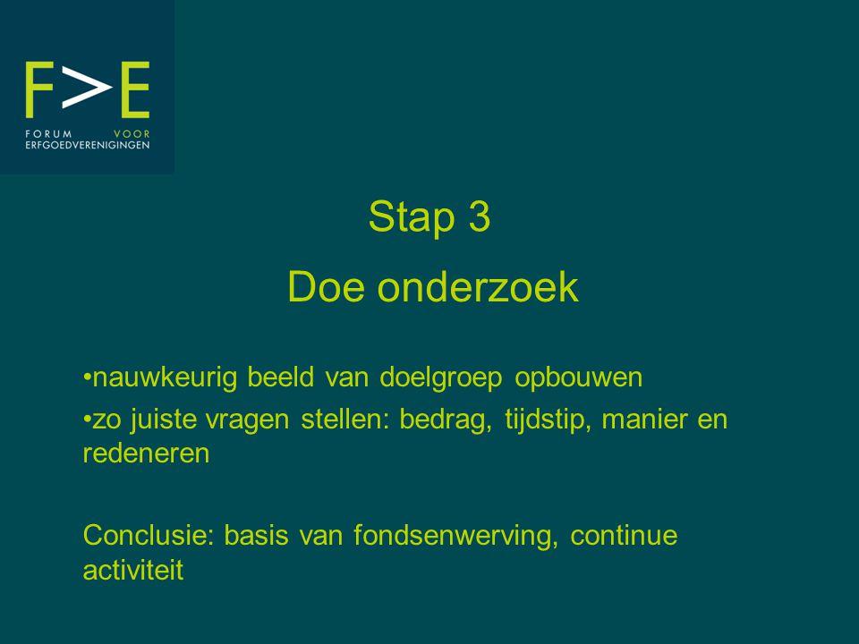 Stap 3 Doe onderzoek •nauwkeurig beeld van doelgroep opbouwen •zo juiste vragen stellen: bedrag, tijdstip, manier en redeneren Conclusie: basis van fondsenwerving, continue activiteit