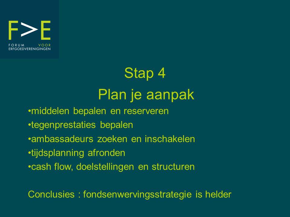 Stap 4 Plan je aanpak •middelen bepalen en reserveren •tegenprestaties bepalen •ambassadeurs zoeken en inschakelen •tijdsplanning afronden •cash flow, doelstellingen en structuren Conclusies : fondsenwervingsstrategie is helder
