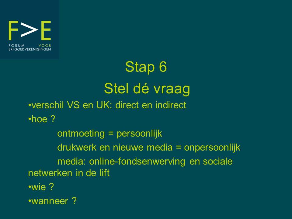 Stap 6 Stel dé vraag •verschil VS en UK: direct en indirect •hoe ? ontmoeting = persoonlijk drukwerk en nieuwe media = onpersoonlijk media: online-fon