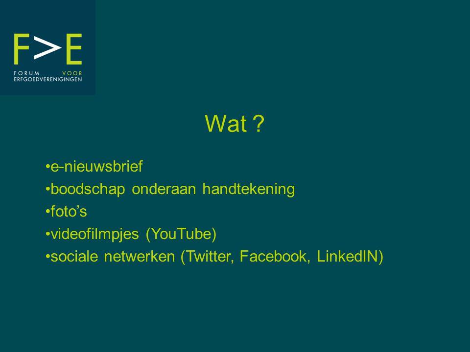 Wat ? •e-nieuwsbrief •boodschap onderaan handtekening •foto's •videofilmpjes (YouTube) •sociale netwerken (Twitter, Facebook, LinkedIN)