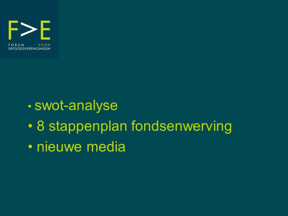 • swot-analyse • 8 stappenplan fondsenwerving • nieuwe media