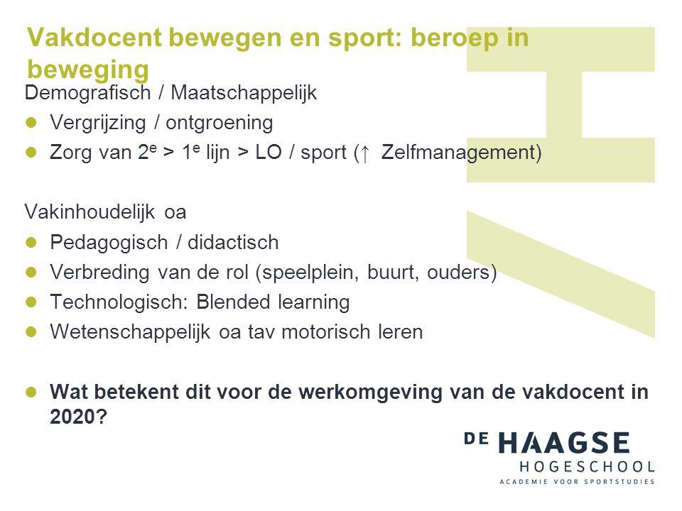 Vakdocent bewegen en sport: beroep in beweging Demografisch / Maatschappelijk  Vergrijzing / ontgroening  Zorg van 2 e > 1 e lijn > LO / sport ( ↑ Z