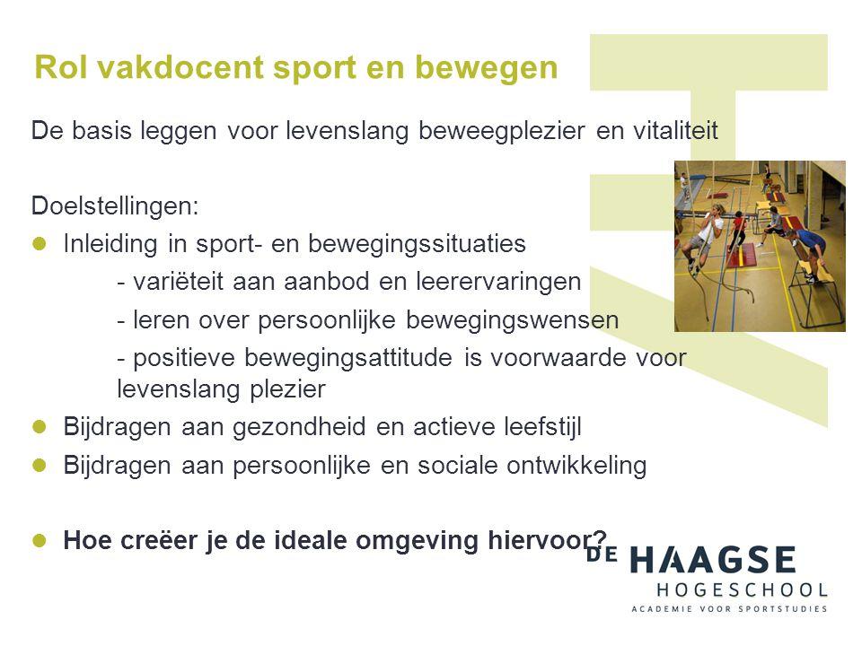 Rol vakdocent sport en bewegen De basis leggen voor levenslang beweegplezier en vitaliteit Doelstellingen:  Inleiding in sport- en bewegingssituaties
