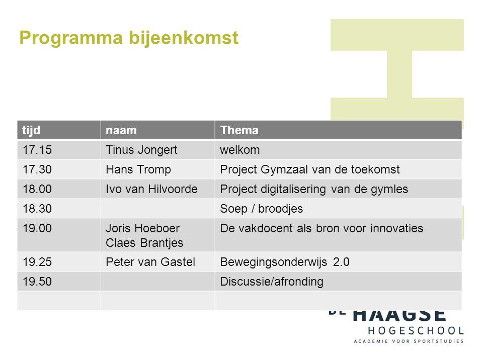 Programma bijeenkomst tijdnaamThema 17.15Tinus Jongertwelkom 17.30Hans TrompProject Gymzaal van de toekomst 18.00Ivo van HilvoordeProject digitaliseri