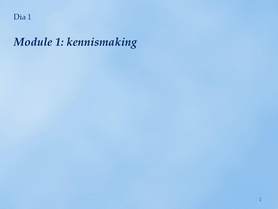 Dia 1 Module 1: kennismaking 1