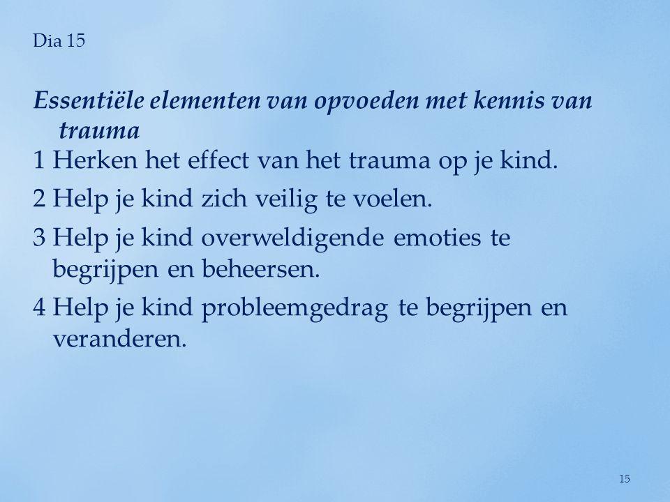 Dia 15 1Herken het effect van het trauma op je kind. 2Help je kind zich veilig te voelen. 3Help je kind overweldigende emoties te begrijpen en beheers