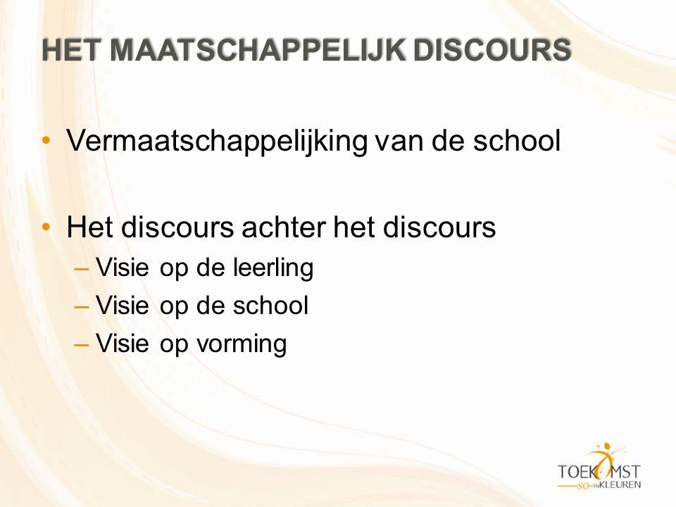 HET MAATSCHAPPELIJK DISCOURS •Vermaatschappelijking van de school •Het discours achter het discours –Visie op de leerling –Visie op de school –Visie o