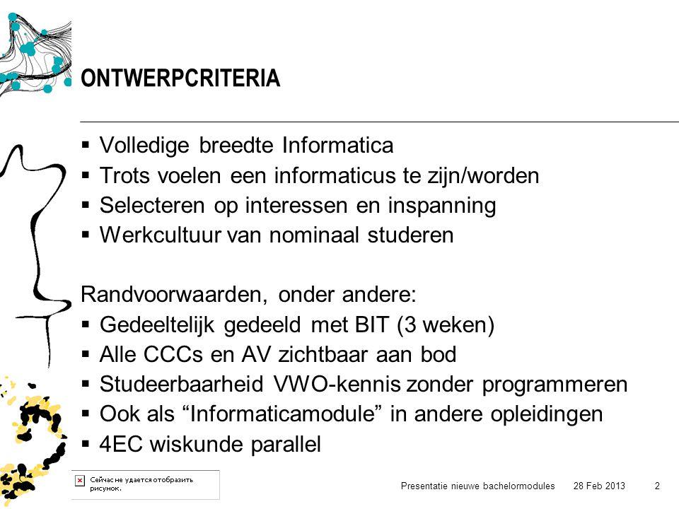  Volledige breedte Informatica  Trots voelen een informaticus te zijn/worden  Selecteren op interessen en inspanning  Werkcultuur van nominaal stu