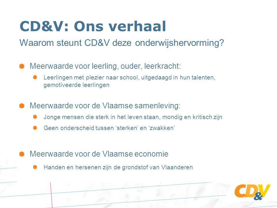 CD&V: Ons verhaal Waarom steunt CD&V deze onderwijshervorming.