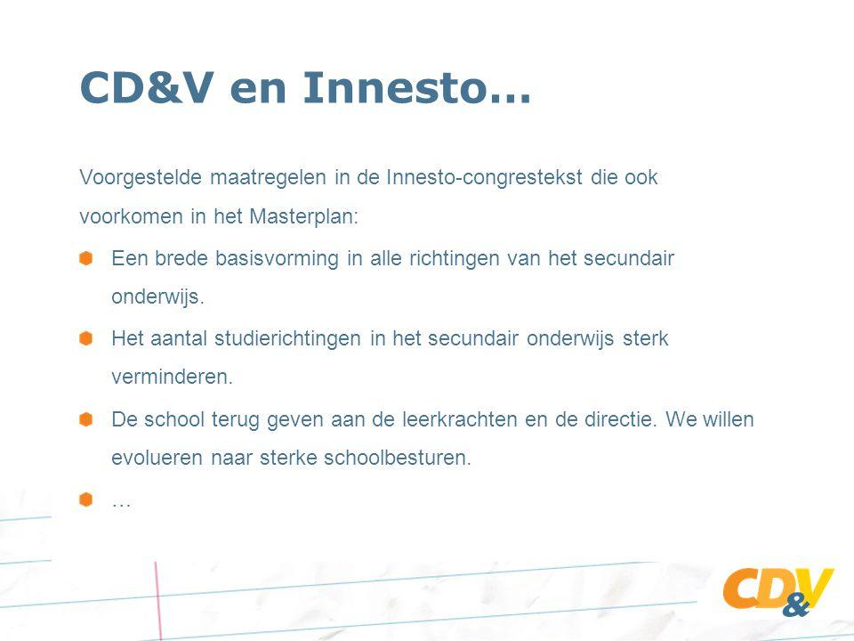 CD&V en Innesto… Voorgestelde maatregelen in de Innesto-congrestekst die ook voorkomen in het Masterplan: Een brede basisvorming in alle richtingen van het secundair onderwijs.
